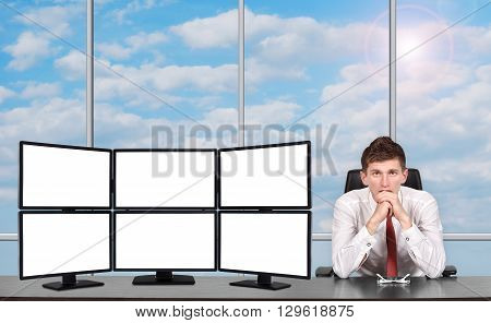 Trader Sitting Sitting In Office