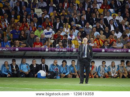 KYIV UKRAINE - JULY 1 2012: Head Coach of Spain national football team Vicente del Bosque looks on during UEFA EURO 2012 Final game against Italy at Olympic stadium in Kyiv Ukraine