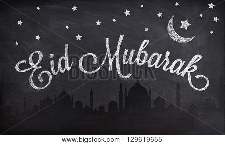 Creative Text Eid Mubarak on Mosque silhouetted night view background, Chalkboard style greeting card design for Muslim Community Festival celebration.
