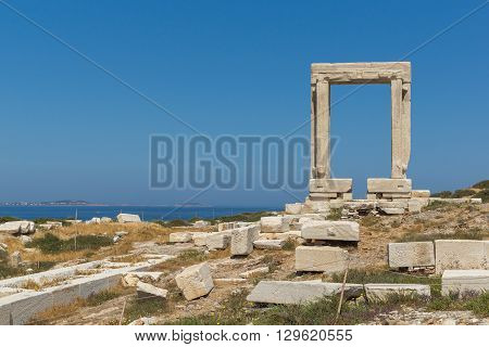 Close up view of Portara, Apollo Temple Entrance, Naxos Island, Cyclades, Greece