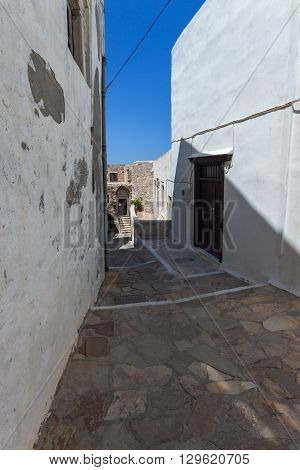 Street in the fortress in Chora town, Naxos Island, Cyclades, Greece
