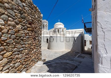 Catholic church and Square in the fortress in Chora town, Naxos Island, Cyclades, Greece