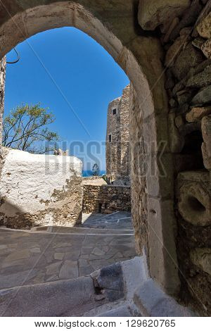 Entrance of the fortress in Chora town, Naxos Island, Cyclades, Greece
