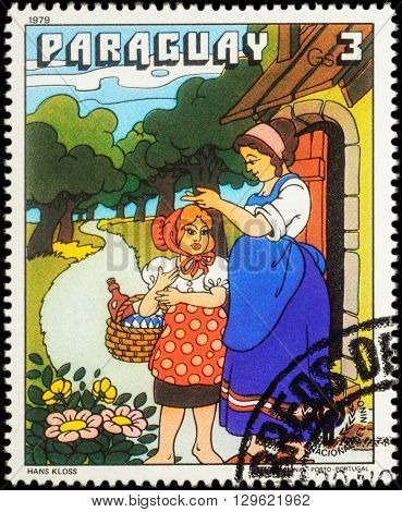 MOSCOW RUSSIA - MAY 12 2016: A stamp printed in Paraguay shows scene from a fairy tale