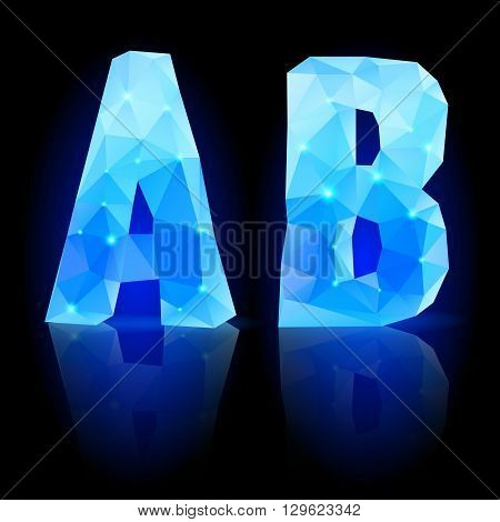 Shiny blue polygonal font. Crystal style A and B letters with reflection on black backround