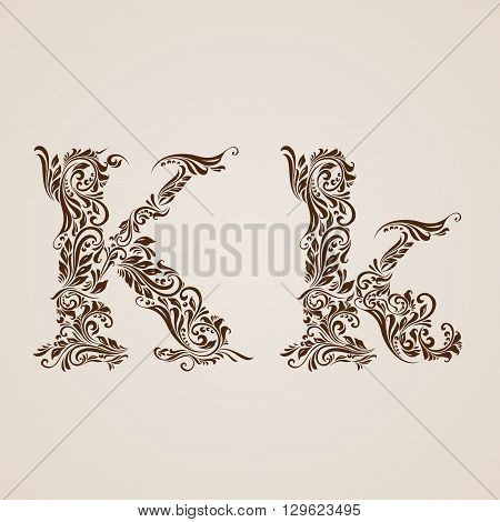 Handsomely decorated letter k in upper and lower case.
