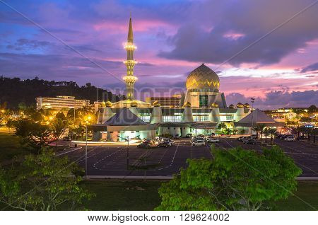 Kota Kinabalu,Sabah,Malaysia-October 25, 2015:Masjid Negeri Sabah is the state mosque of Sabah,located at Sembulan,Kota Kinabalu,Sabah,Malaysia. This country is officially an Islamic nation