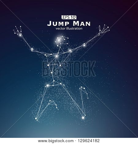 Jump Man dots and lines connected together a sense of science and technology vector illustration.