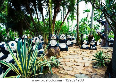 Chonburi, Thailand - March 18, 2016: Beautiful Garden Decoration In Nong Nooch Tropical Botanical Ga