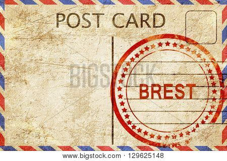 brest, vintage postcard with a rough rubber stamp