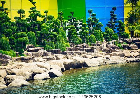 Pattaya,thailand - March 18,2016: Green Trees In A Tropical Park Nong Nooch In Thailand