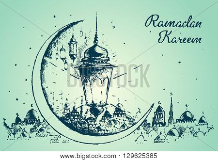 Greeting card template for holy month of muslim community Ramadan Kareem Ramadan fanous on beautiful arabic background Trendy flat vector illustration