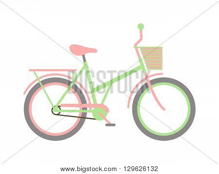Stylish womens green bicycle isolated on white background wheel pedal transportation vector. Cute green bicycle isolated and girl green bike. Romantic sport green bike retro transport cute design.