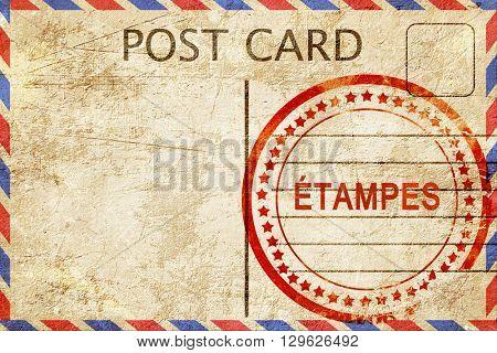 etampes, vintage postcard with a rough rubber stamp