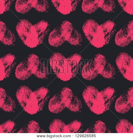 Seamless pattern with fingerprint hearts. Hand drawn heart shapes with rough edges. Trendy texture. Endless stylish backdrop. Pink thumbprint hearts on black background. Fabric, wallpaper, wrapping