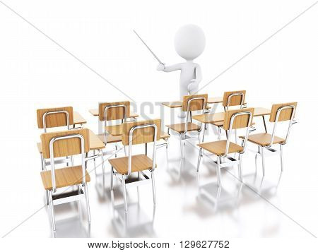 3d renderer image. White people with school chairs. Education concept. Isolated white background.