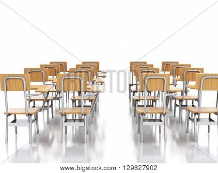 3d renderer image. Classroom with school chairs. Education concept. Isolated white background.