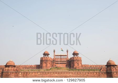 Famous Red Fort in Delhi, which was the residential palace of Shah Jahan and Mughal emperors for 200 years. Built with red sandstone, the building has superb architecture.