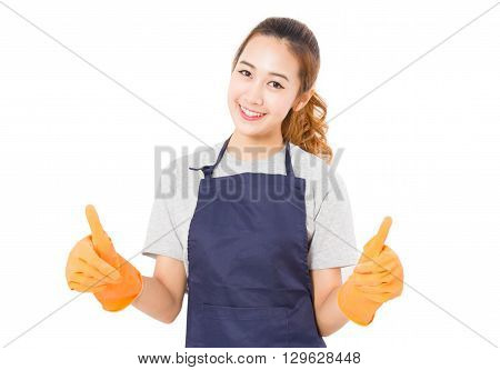 Smiling Asian Woman Wearing Rubber Gloves Giving Thumbs Up On a White Background.