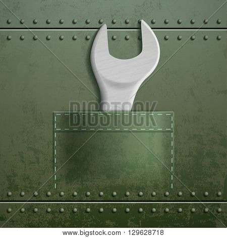 Wrench is in the pocket. Metal industrial texture. Stock vector illustration.