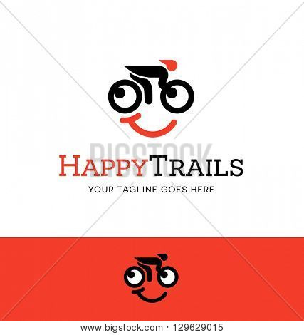 biking logo with a smiling face for business, organization or website