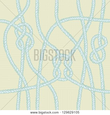 Marine rope knot seamless pattern. Endless navy illustration with blue rope ornament and nautical knots on yellow background. For fabric, wallpaper, wrapping. Figure 8, sheet bend and square knots.