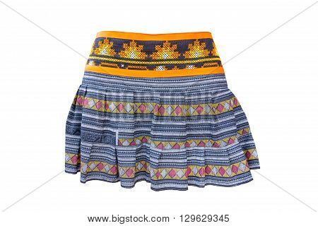 Blue pleated skirt isolated on white background.