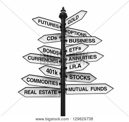 Types of Investments Direction Sign isolated on white background. 3D render