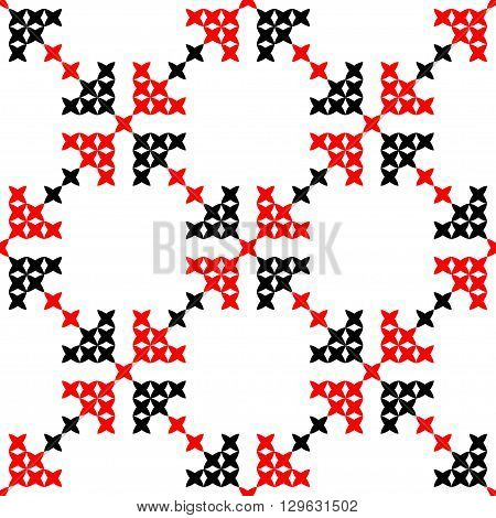 Seamless texture with red and black abstract patterns for tablecloth. Embroidery. Cross stitch.
