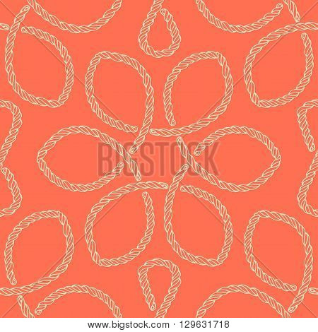 Abstract rope knot seamless pattern. Endless illustration with light green rope ornament on orange background. Trendy rope knot texture. Endless stylish backdrop. For fabric, wallpaper, wrapping.