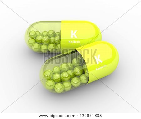 Kalium Pill With Granules Lying On Table