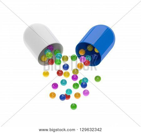 Capsule With Vitamin Granules Isolated Over White