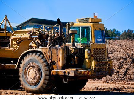 Heavy earthmoving equipment working on new housing development