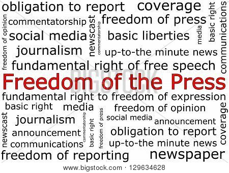 Freedom of the Press wordcloud on white background- illustration