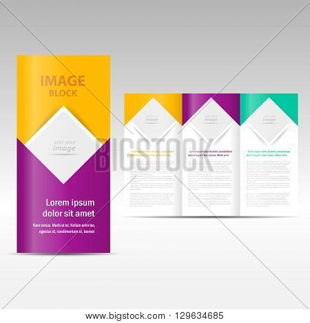Vector Brochure Tri-fold Layout Design Template square block for images