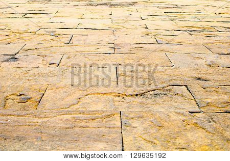 Perspective background : Sand stone brick perspective floortexture background.
