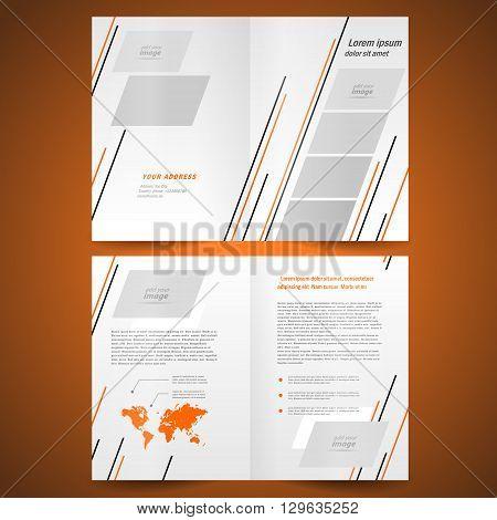 booklet design template catalog brochure folder leaflet vector geometric abstract grach orange black line grey background