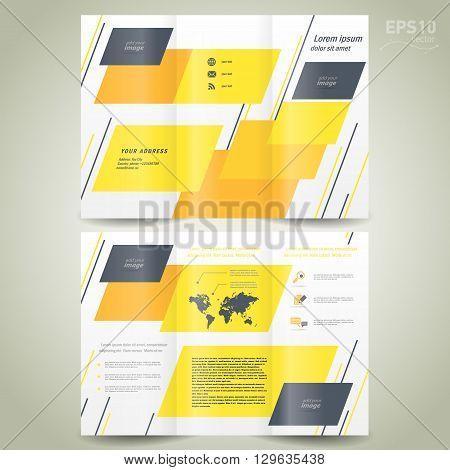 brochure design template vector folder leaflet geometric abstract grach yellow black line white background