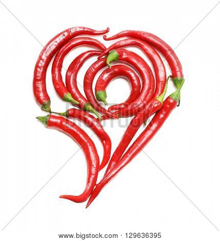 Red Heart Chili Pepper. Red Chili Pepper Heart.