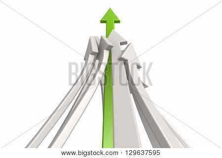Leading green arrow image on white background, 3d rendering