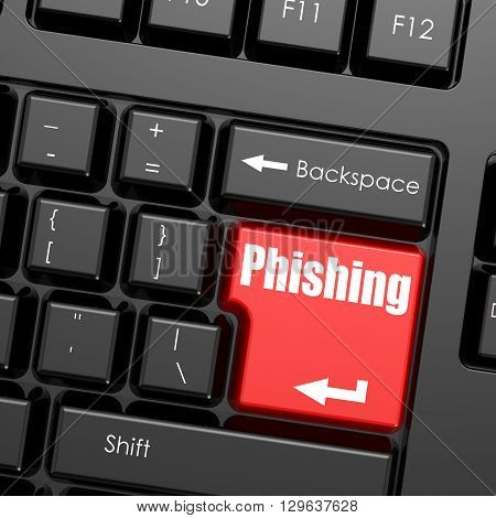 Red enter button on computer keyboard Phishing word. Business concept, 3d rendering