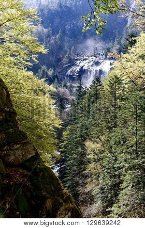 a waterfall of Ars in the Pyrenees in France