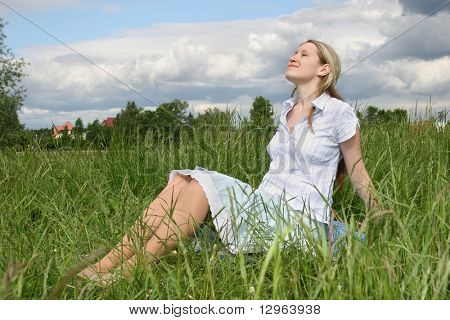 pregnant girl on meadow