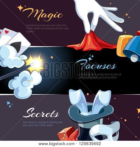 Magic illustrations for template of web banners. Cartoon vector pictures of magic ellements. Advertizing with place for your text is decorated with magic pictures