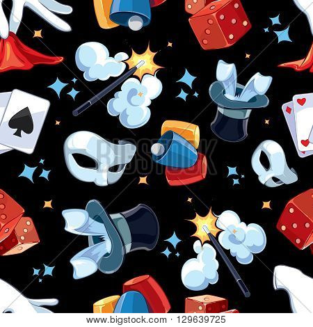 Seamless pattern with Magic illsutrations. Cartoon vector pictures of magic ellements isolate on dark background