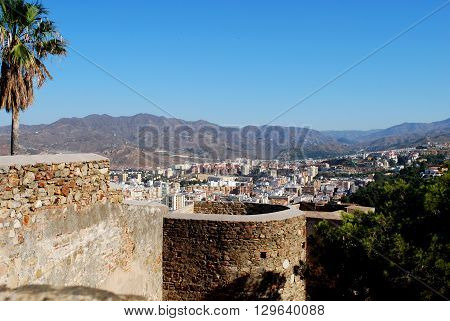 Gibralfaro castle walls with views over the city Malaga Malaga Province Andalucia Spain Western Europe.