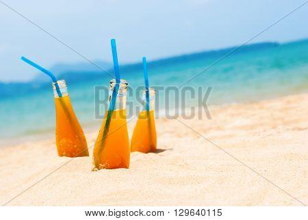 Three Orange Juice Bottles Sea Background Summer