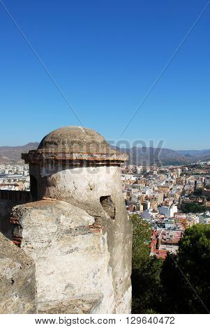 a tower with views over the city Malaga Malaga Province Andalucia Spain Western Europe.