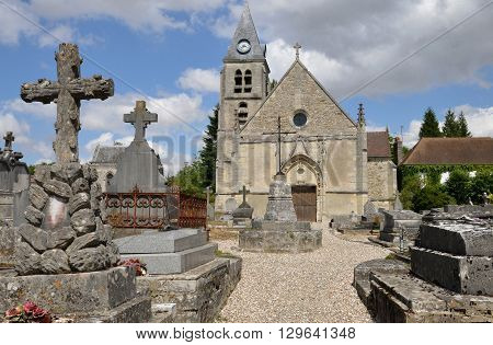 Villers en Arthies France - july 15 2015 : the Saint Martin gothic church in summer