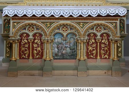 STITAR, CROATIA - AUGUST 27: Altar decoration on the altar of the Sacred Heart of Jesus in the church of Saint Matthew in Stitar, Croatia on August 27, 2015